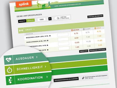 Splink App Deutsches Sportabzeichen ux ui user interface design app splink green interface website web sport