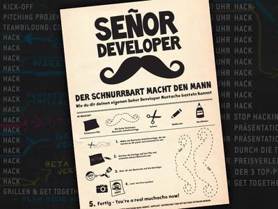 ADVANCE HACKATHON – Flyer & Poster mustache developer hackathon flyer design poster moustache print hacker beard