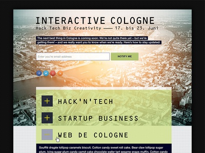 Interactive Cologne –Launch Page launch page launch launchpage design ui design ui interface cologne web webdesign landingpage landing page