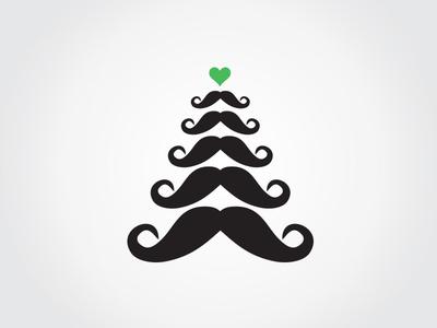 Merry Moustachy Christmas moustache beard railslove christmas logo icon xmas merry christmas x-mas love heart tree christmas tree winter