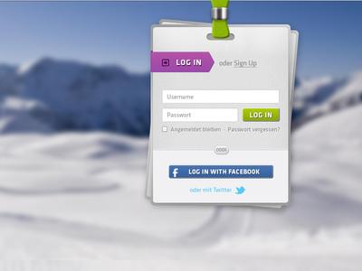 Sign Up / Log In signup sign up login log in winter snow ui app ux password facebook twitter