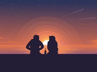You, me & a drink airstream illustrations landscape night sky evening ocean friendship friends sun sunset sea illustration