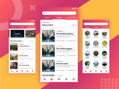 Event App - Groups exploration pattern groups category android app material minimal uiux mobile events cards app search