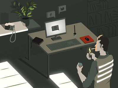 Illustration: Social media addiction dribbble vector sketch workspace smoking character isometric social media addiction illustration