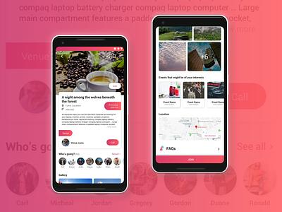Event details - Kloh gradient categories material design android android app event app event details interface mobile ux design ui minimal dribbble