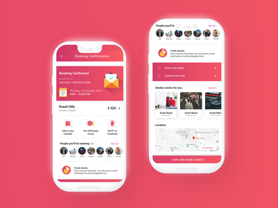 Booking confirmation - Kloh App vector typography social app social confirmation event app booking app booking android ux mobile design ui minimal illustration dribbble