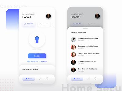 Virtual Key Management - Home vector light ui app design smarthome key home gradient clean iphone ios user interface ui ux security mobile minimal lock navigation app