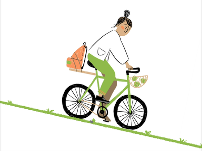 Bicycle loop motion graphic nature green illustration instagram relax motion animation loop eco girl bicycle