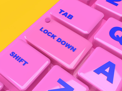 LOCKDOWN covid pandemic lockdown instagram animation loop adobe dimension 3d red button keyboard
