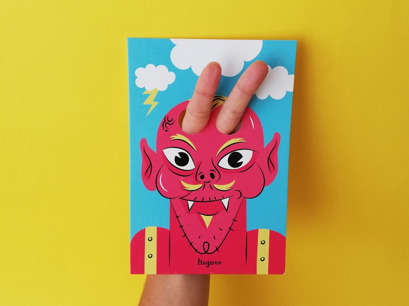 Fingaroo print interactive kids product photo fingers devil illustration characters gifs stationery postcards fingaroo