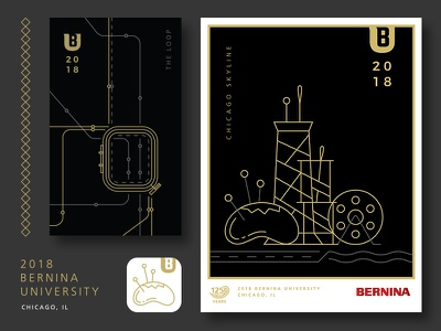 2018 BERNINA University Branding modern minimal logo event sewing chicago illustration app icon poster signs monoline branding