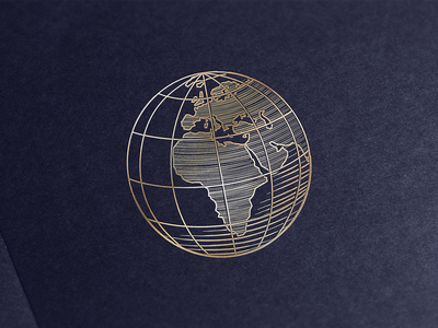 Gold Plated Woodcut Globe vintage africa europe vector illustration logo stamp gold woodcut earth globe