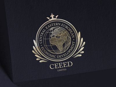 CEEED Logo woodcut vintage vector illustration stamp gold globe diplomatic eastern europe africa identity corporate logo