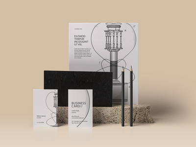 Identity with Leydorf's antenna stationery transmitter magnifying magnetism business card corporate identity branding physics tesla coil