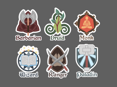 D&D class stickers (work in progress). dnd art fantasy collaboration illustrator adobe wip stickers dd