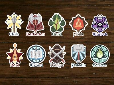 D&D class stickers update (work in progress) wip stickers illustrator fantasy dnd dd collaboration art adobe