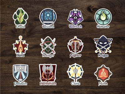 Class Emblem Stickers tabletop rpg fanart redbubble adobe art collaboration dd dnd fantasy illustrator stickers