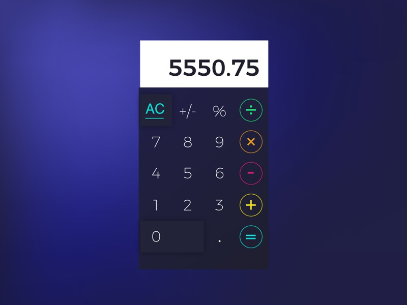 Daily UI No.4 color vibrant interface daily ui challenge dailyui daily ui calculator