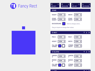 Fancy Rect grid layout buttons web ui blue interface