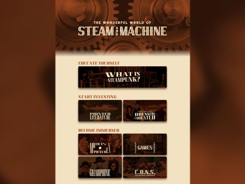The Wonderful World of Steam and Machine retro victorian vintage typography web design brown web steampunk