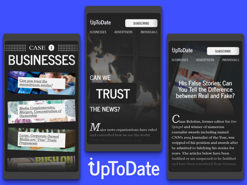 UpToDate design fictional web design website