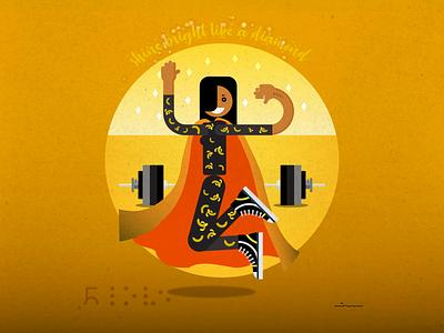 Sparkling Banana Girl vector illustration