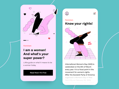 Mobile App Concept - A Guide to Feminism mobile apps concept uidesign arounda feminine mobile app illustrator woman post magazine ebook girls power feminism