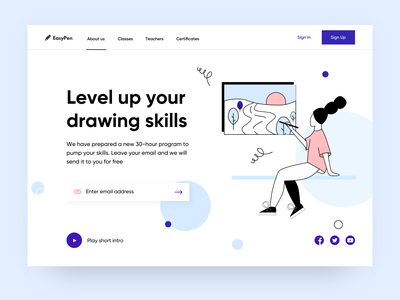 Landing page concept - Online Drawing school architecture typography digital product web ux branding illustrator figma interface school concept design girl drawing illustration landing page arounda