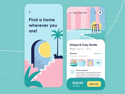 Booking App - Mobile concept travel buildings clean interface digital product home hotel booking mobile concept arounda ui illustration