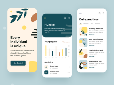 Serenity - IOS Application concept pastel color toucan figma illustrator abstract flat ios ux mobile ui applications analysis statistics trip travel mobile product design web design arounda