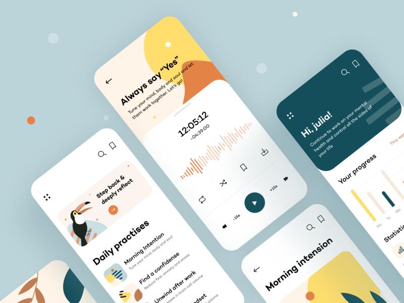 Serenity - Mobile App media player pattern abstact digital product illustrator figma calm meditation statistics analysis pastel toucan concept ui ux ios mobile app arounda