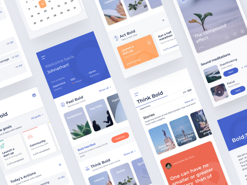 Bold - UI concept arounda-agency clean meditation sketch interface mobile application ios ux ui