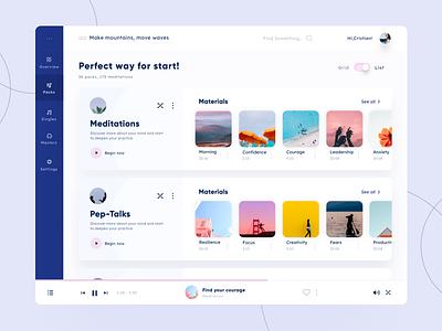 Bold - Web app concept dashboard sketch arounda-agency interface ux ui clean player meditation admin panel web design web app