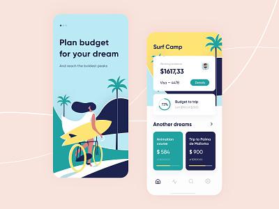 Budget planner - Mobile concept concept figma ux ui dreams surf ios app design arounda interface illustration clean