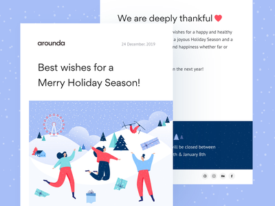 Letter - Holiday wishes web clean concept design ui gifts snow holiday illustration arounda