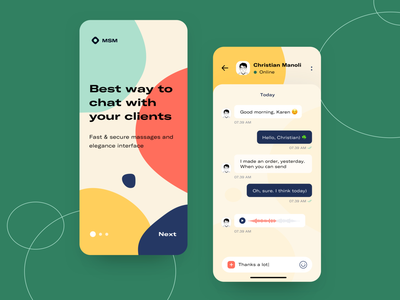 MSM - Chat App Concept messenger typography sketch vector clean illustration mobile web design concept ui arounda onboarding chat