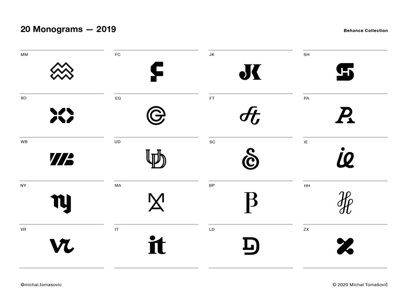 20 Monograms — 2019 logo design symbol logotype mark logo lettermark project logofolio monogram collection