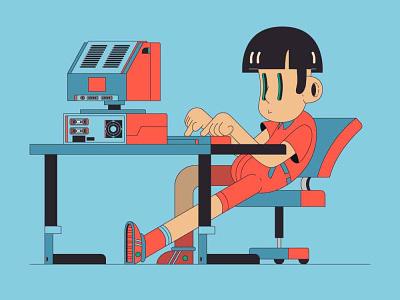 Busy little typer branding vector ui illustration flat design