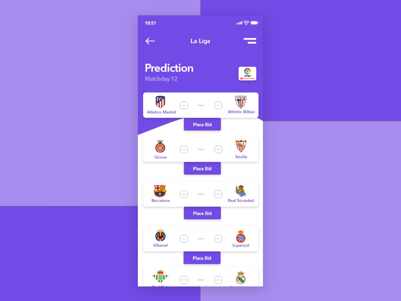 La Liga Prediction App minimal minimal app football football app vector ux ui moments graphic design graphic design clean app design