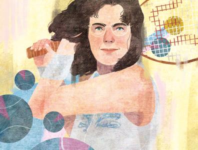 Billie Jean King illustrated portrait sports tennis portrait illustration editorial illustration portrait editorial illustration
