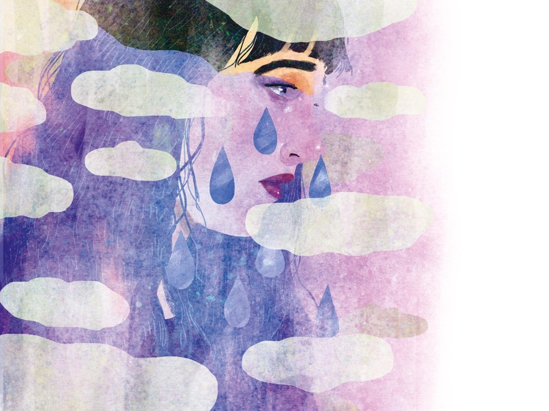 Why We Cry blue sadness portrait editorial illustration editorial illustration