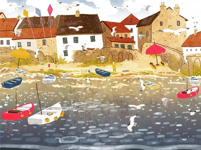 Cornish Harbour harbour stickerbook illustration seaside cornwall