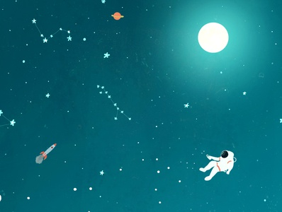 Astronaut editorial kidlitart blue space book illustration illustration