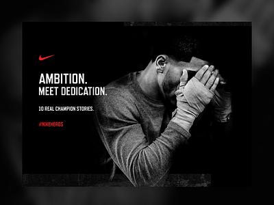 #NikeHeros website textured boxing boxer design champion heros sport mockup nike