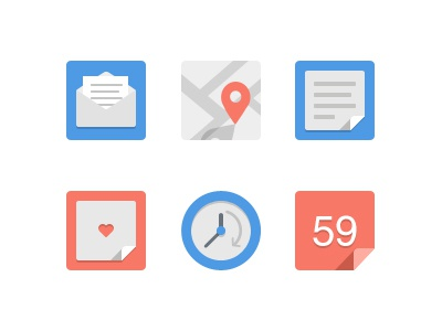 Simple flat icons set icons set flat red blue map letter file clock heart