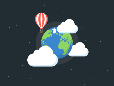 Earth Day earth day flat illustration clouds baloon planet material design