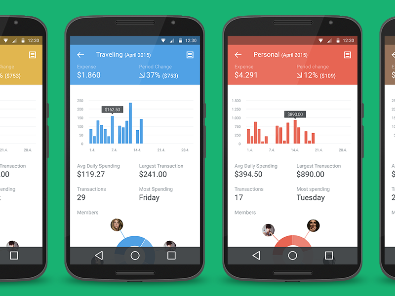 Spendee 2.0 spendee android ui material design charts analytics graph categories icons flat minimal lollipop