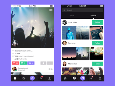 Snippit explore feed purple app ios flat social network music