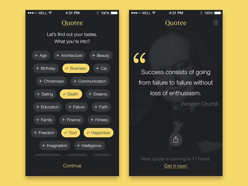 Quotee App cite black yellow project ios simple app quote