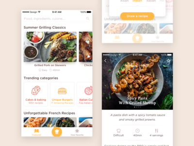 Cooking app concept simple app ios restaurants food shadows minimal cook book recipes cooking
